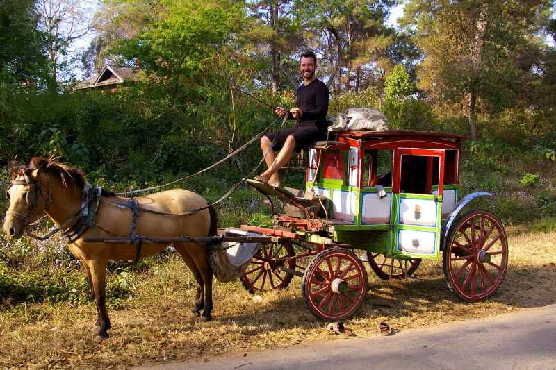 Life is a trip: Marco Buch on a horsecart in Myanmar