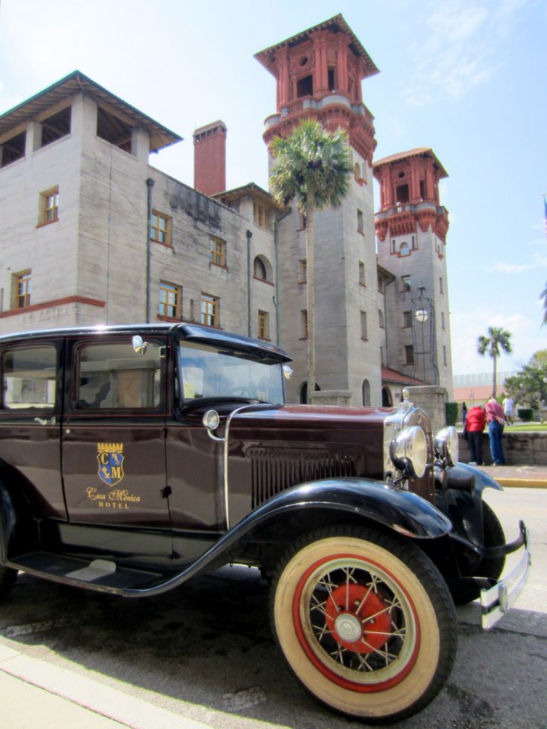 Road Trip USA: Old car and old building in St. Augustine, Florida