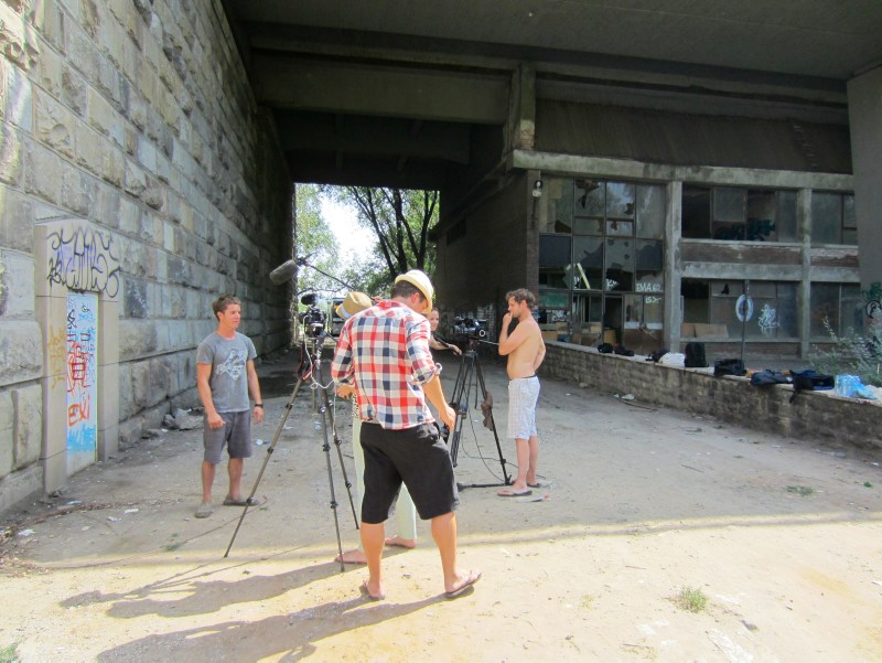 People getting interviewed under a bridge in Belgrade