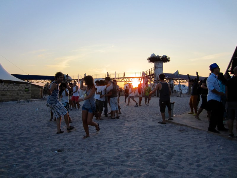 People dancing on the beach at Kazantip