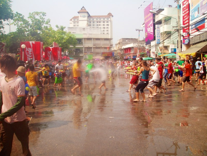 Festivals around the world: People during a waterfight in Chiangmai