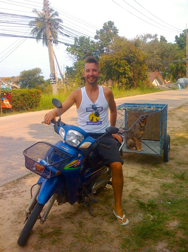 Phangan Animal Care: Marco Buch on a motorbike with dog in a cage