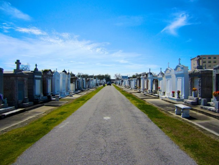 Most beautiful cemeteries: Street between graves in New Orleans