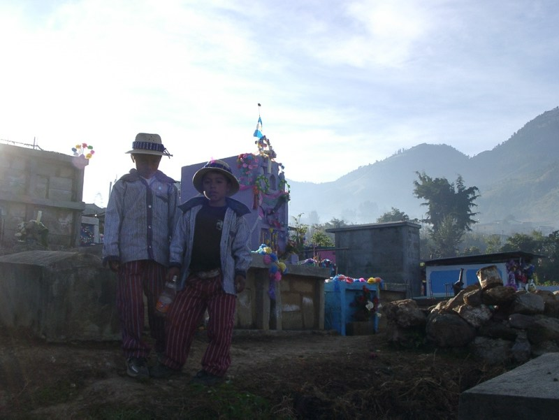 Kids at a grave
