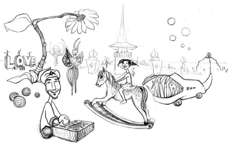 """Zeichnung von """"Marco Buch"""" beim Burning Man"""