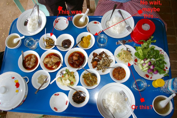 Weird food: Many dishes on a table in Myanmar
