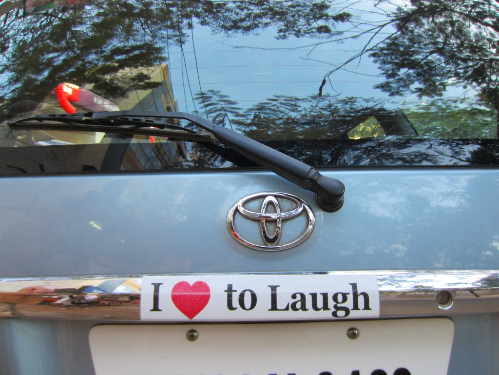 Of course, this is what Dr. Kataria's car says on its back...