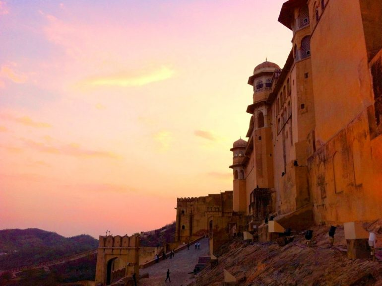 Renting an Enfield in India: Amber Fort in the sunset