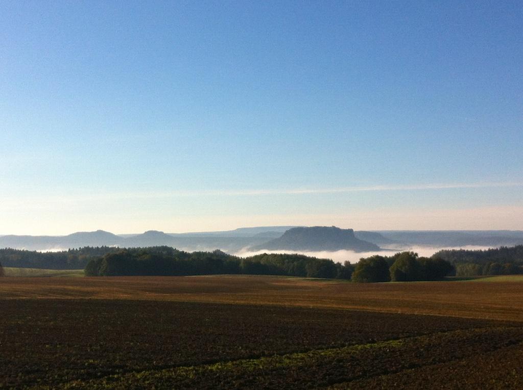 Morgengrauen über dem Nationalpark Sächsische Schweiz