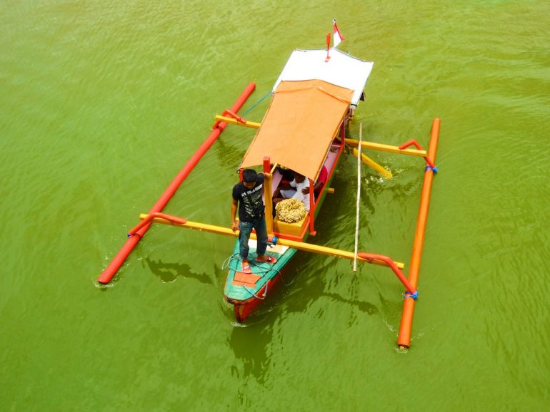 Mann auf einem Boot auf grünem Wasser