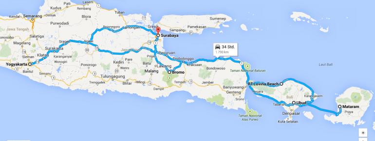 Landkarte mit Route durch Indonesien