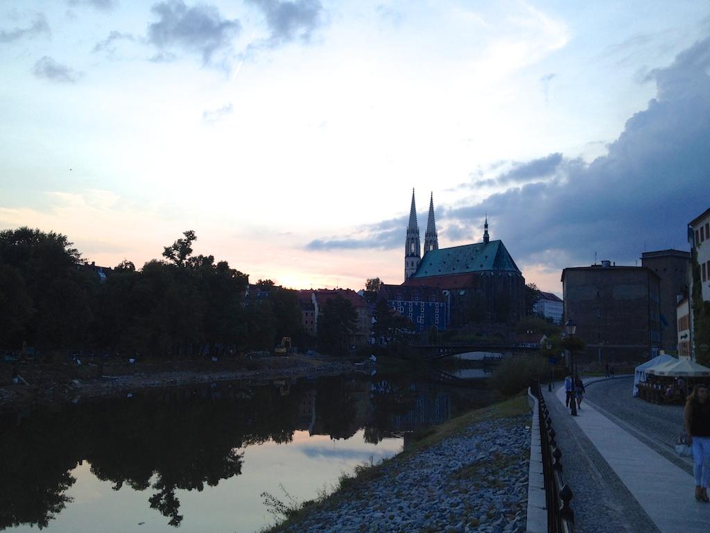 Die Sonne versinkt über Görlitz