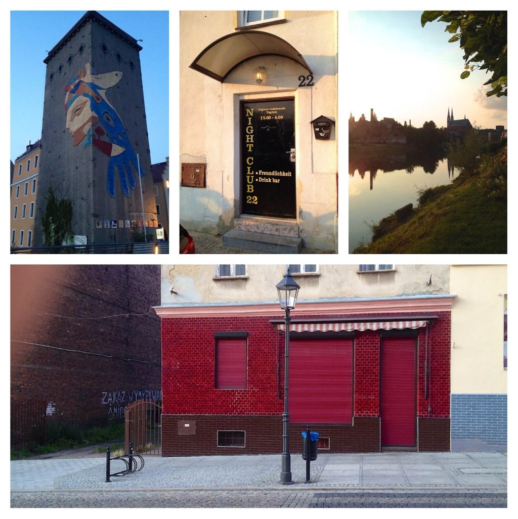 Eindrücke aus Polen: Ein großes Kunstwerk an der Neisse; einer von mehreren 'Nightclubs'; die Neisse mit Sonneuntergang; architektonische Überraschungen