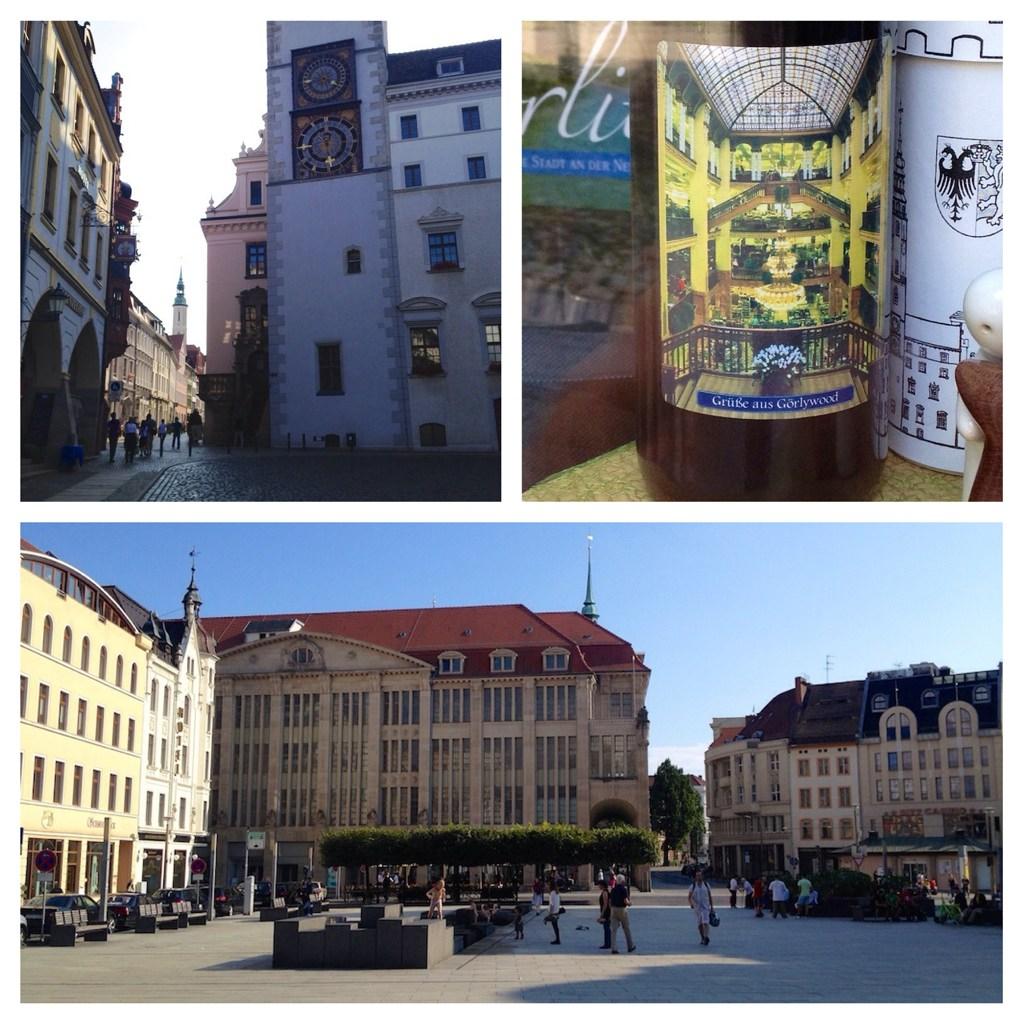 The Grand Budapest Hotel: Fast ausschließlich in Görlitz gedreht, wie etwa am Obermarkt (l.o.). Die Innenszenen entstanden im bis vor kurzem leerstehenden Kaufhaus (u.); in einem Schaufenster sieht man auf einer Flasche, wie es inne aussah (o.r:)