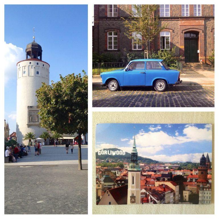 Wasserturm, Strassenszene und Postkarte in Görliwood
