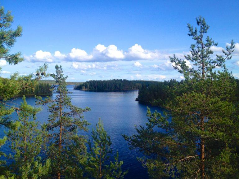 Blick über Wälder und Seen vom Linnavori