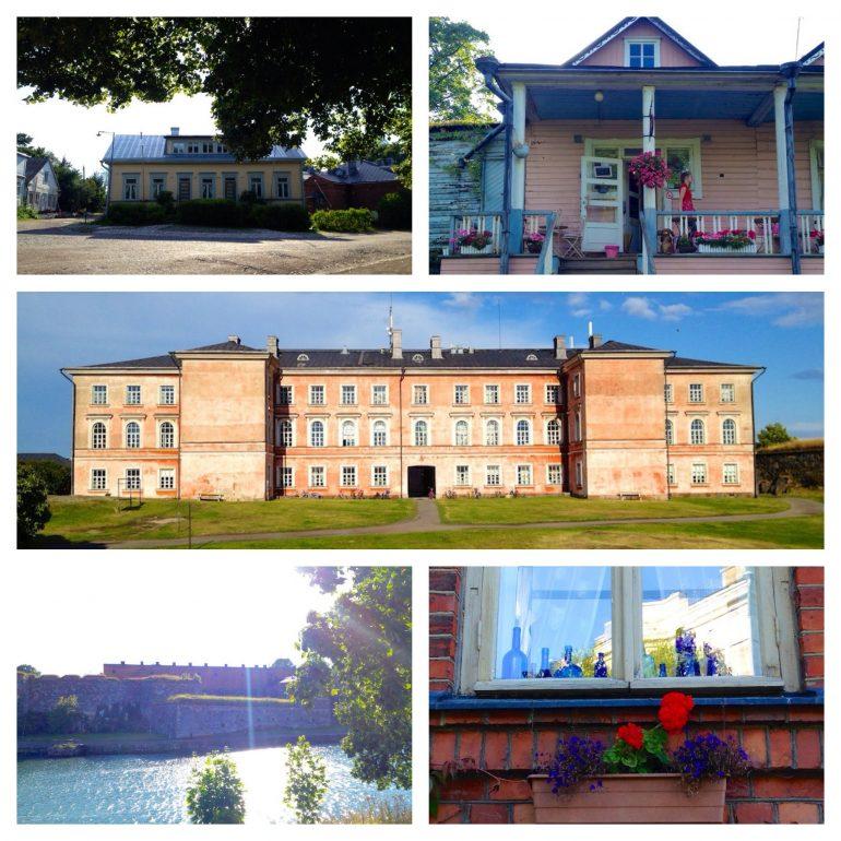 Blick auf verschiedene Gebäude in Suomenlinna