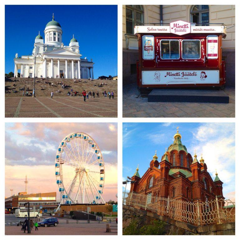Helsinki (im Uhrzeigersinn): Kathedrale, Eisstand im Zentrum, Riesenrad am Hafen, Kirche.
