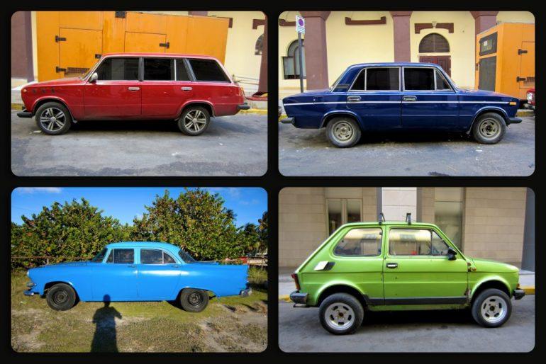 Vier kubanische Oldtimer unterschiedlicher marken und Farben