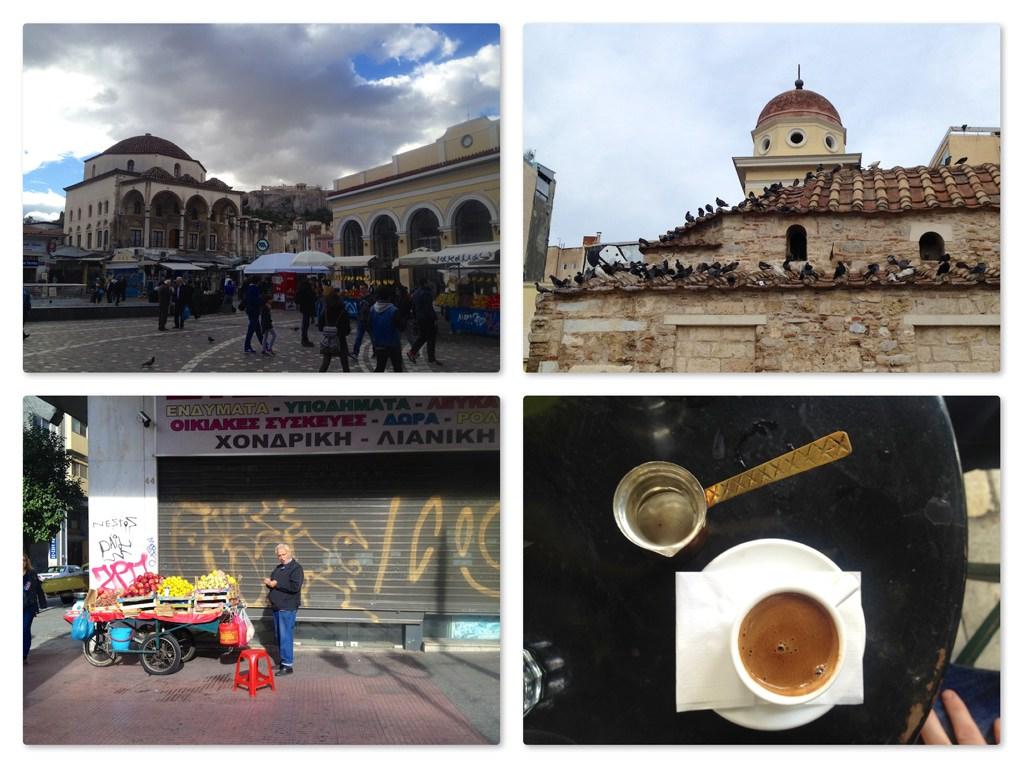 Moanstiraki Platz; das kleine Kloster; Verkäufer; griechischer Kaffee