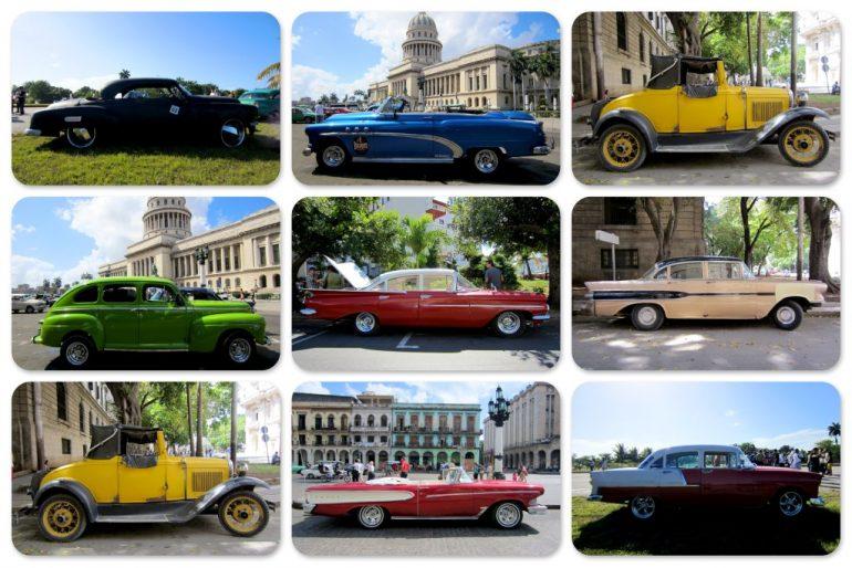 Neun Autos in Kuba, unterschiedliche Farben und Marken