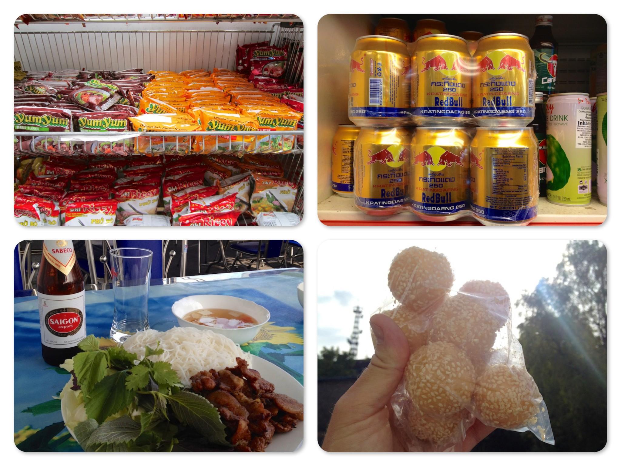 Im Uhrzeigersinn: Ein regal voller Ramen-Suppen; der echte Thai Red Bull; süße Bällchen; Bun Cha mit Saigon