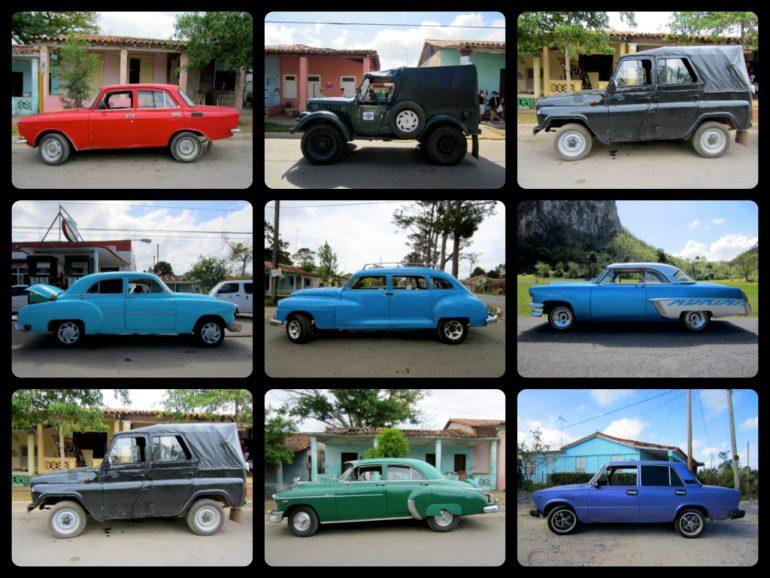 Neun Kuba Autos unterschiedlicher Marken und Farben