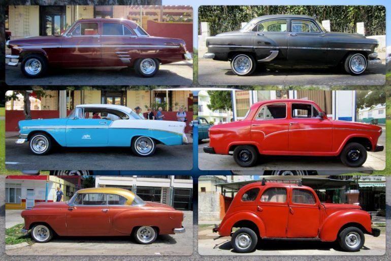 Sechs Kuba Autos in unterschiedlichen Farben