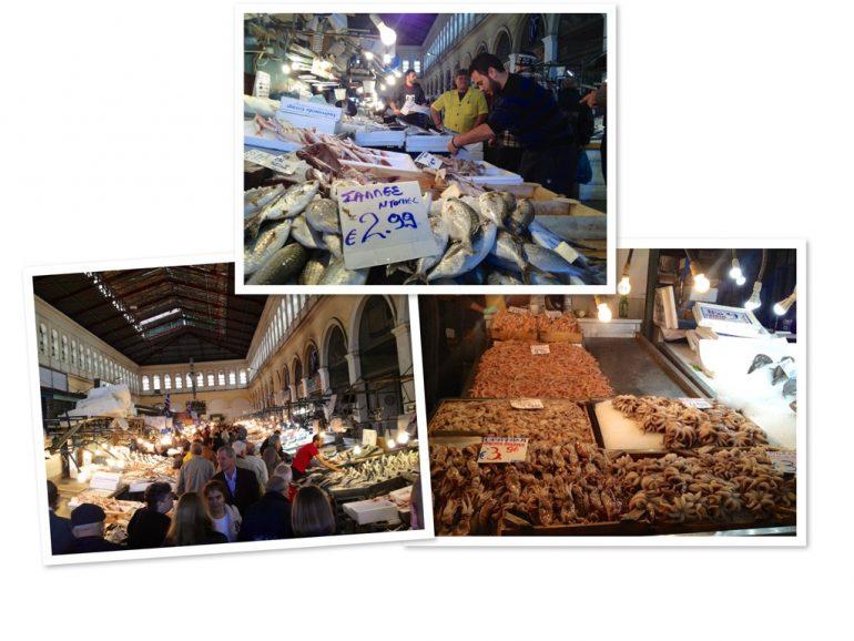 Verkäufer und Produkte auf dem zentralen Markt in Athen