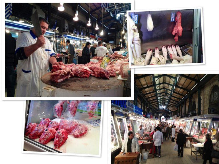 Metzger mit Fleisch auf dem zentralen Markt in Athen