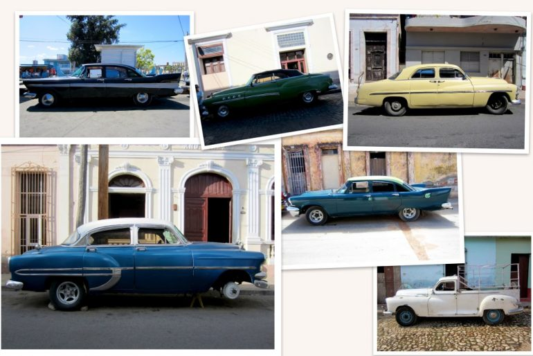 Cuba cars: Old cars of various color and brand