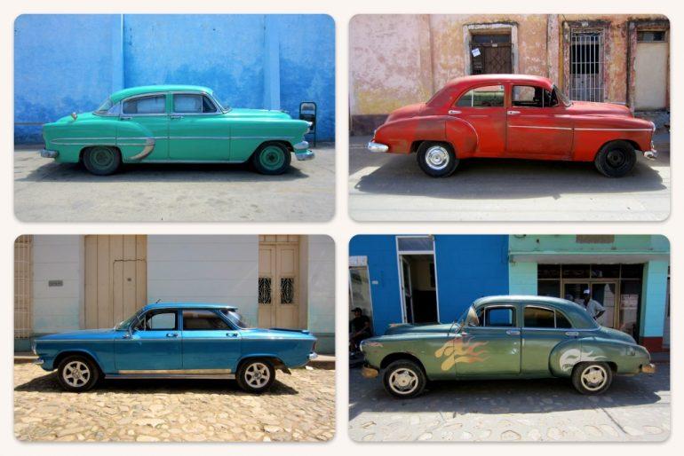 Vier Kuba Oldtimer unterschiedlicher Marken und Farben