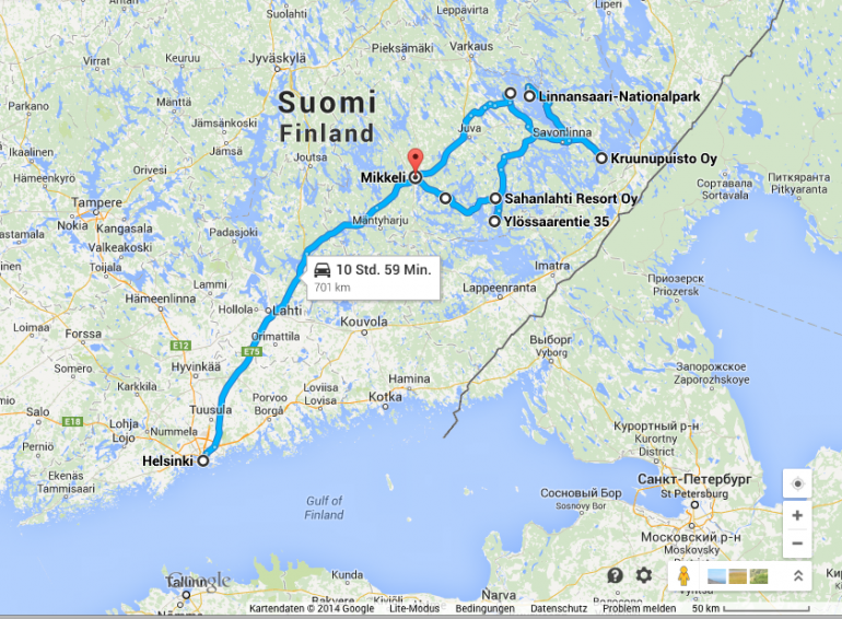 Strecke von Helsinki in die Saimaa Region