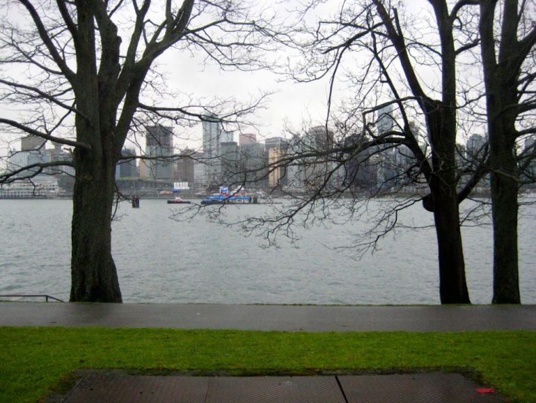 Blick auf Vancouver durch Bäume und über Wasser