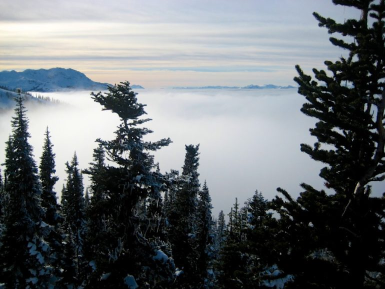 Nebel in einem Tal in Whistler