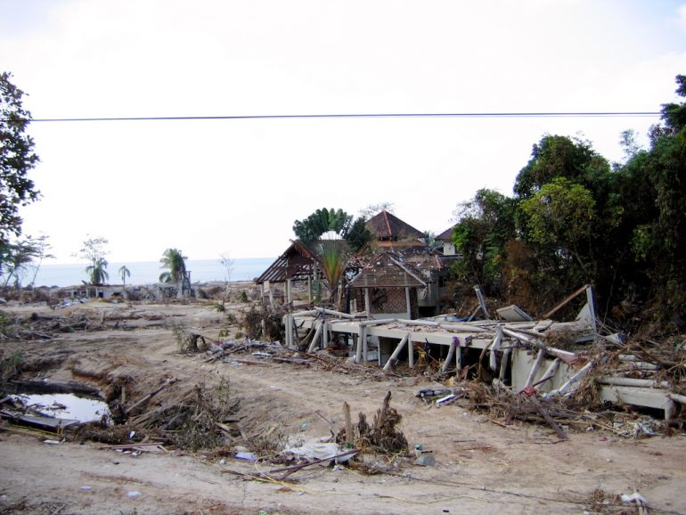 Tsunami 2004: Zerstörte Häuser in Ban Nam Khem