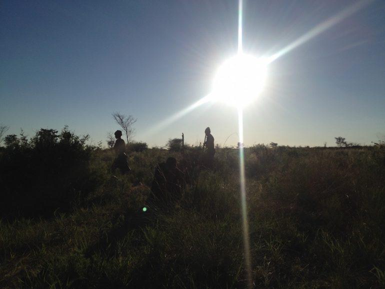 San Buschmänner in der Steppe