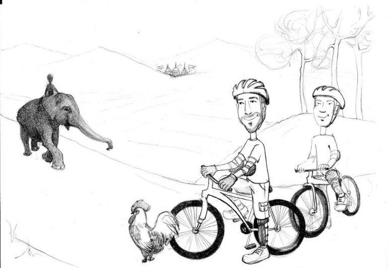 """Zeichnung von """"Marco Buch"""" beim Mountainbiken in Thailand"""