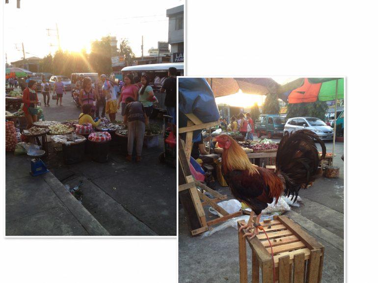Menschen auf Markt im Sonnenuntergang in Manila Philippinen