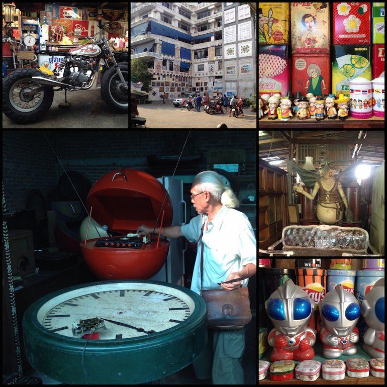 Bangkok Geheimtipps: Objekte und Verkäufer auf dem Wat Suan Kaew Flohmarkt