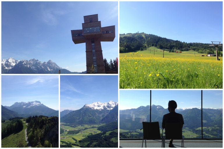 Blick auf das Jakobskreuz und vom Jakobskreuz auf die Landschaft in Tirol
