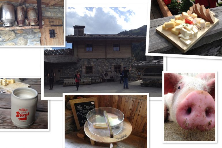 Tiere, Hof und Essen auf dem Kasplatzl in Tirol