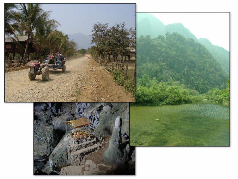 Die Umgebung von Vang Vieng: Flüsse an Karstfelsen, Buddhastatuen in Höhlen, Einheimische auf schrägen Gefährten