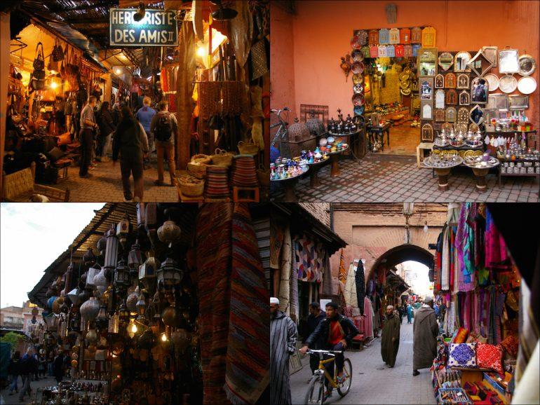Menschen und Produkte in Marrakeschs Souks