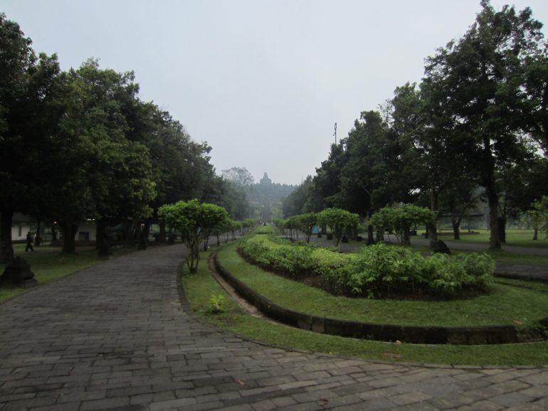 Borobodur im Nebel und Pflanzen an der Zufahrt