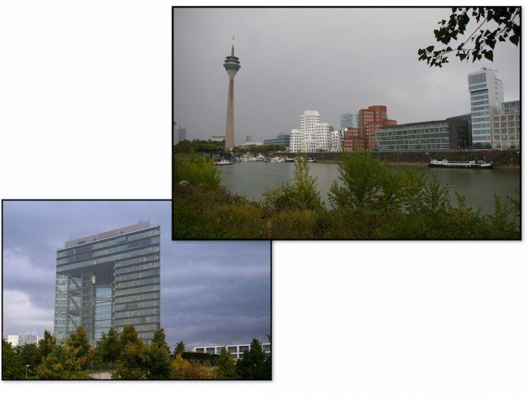 Gebäude und Rhein im Düsseldorf Medienhafen