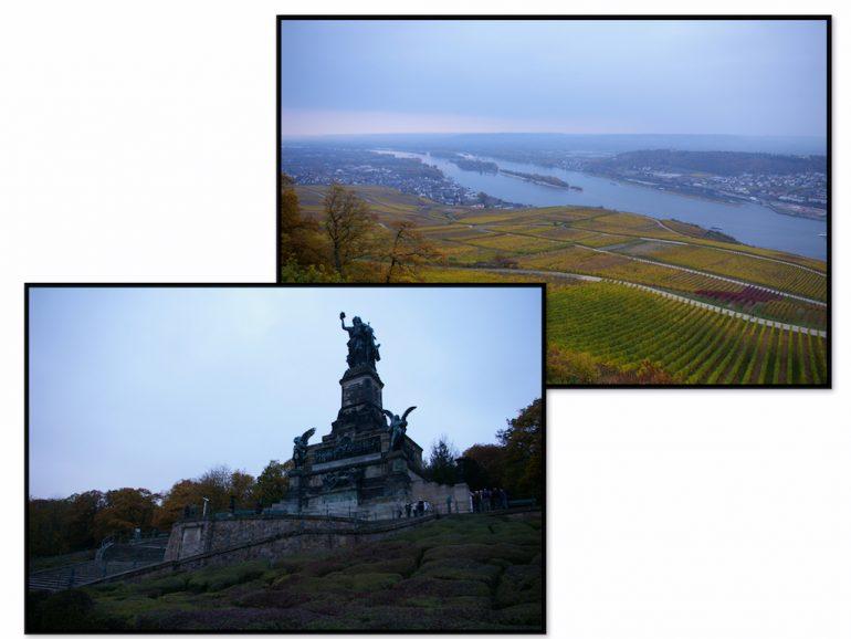 Urlaub am Rhein: Blick auf das Niederwalddenkmal und auf den Rhein