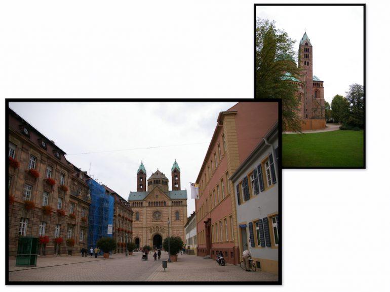 Urlaub am Rhein: Kirche und Strasse in Speyer