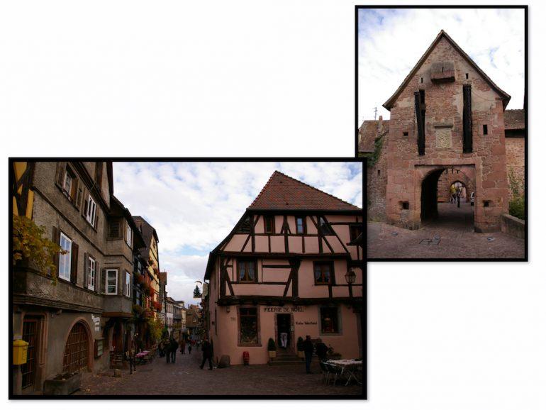 Häuser und Stadttor in Riquewihr