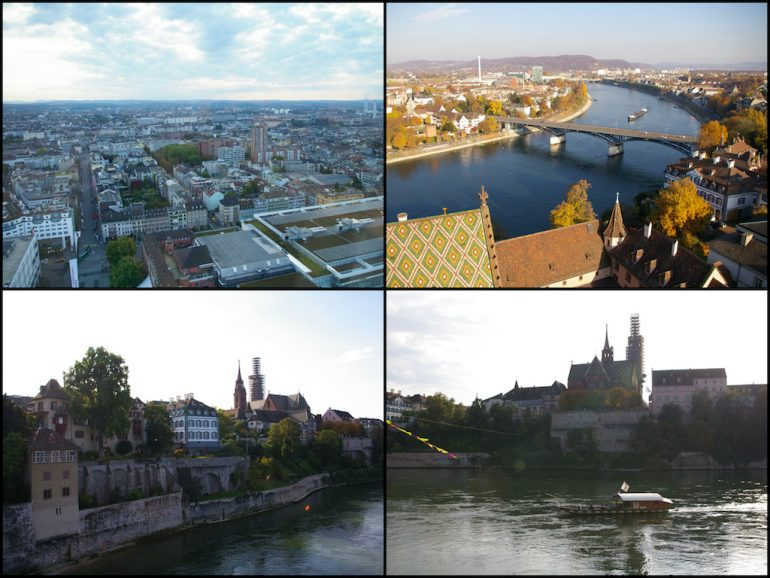 Rhein, Gebäude und Brücken in Basel
